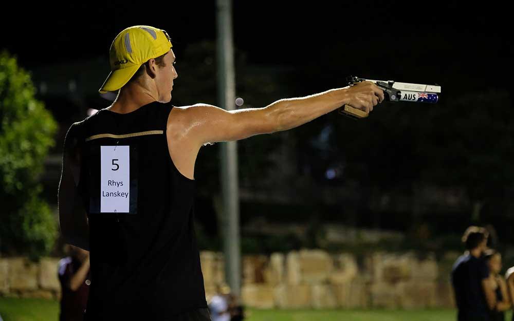 Rhys Lanskey on the shooting range