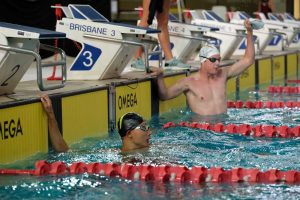 Rhys Lanskey celebrates swim win