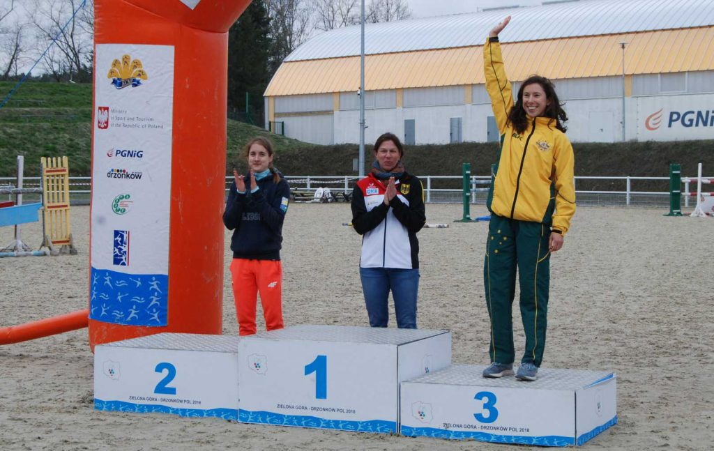 Marina Carrier on the podium in Poland