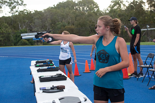 Genevieve Van Rensburg shooting during the Laser Run at the 2020 Nationals.