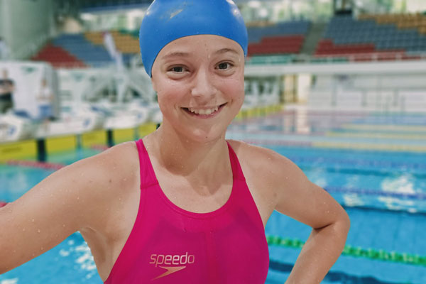 Genevieve Van Rensburg after a fast swim at the 2020 National Championships in Brisbane.