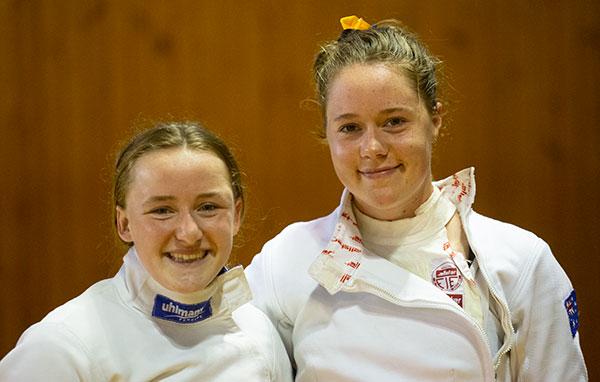 Tully Watt and Nikita Mawhirt after the fencing discipline of the 2020 Modern Pentathlon Nationals.